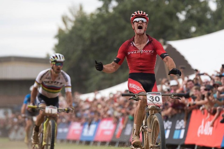 A completely elated and overwhelmed Sam Gaze pictured winning the thrilling men's elite race at the UCI Mountain Bike World Cup in Stellenbosch. Photo: Shannon Valstar