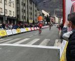 Trek-Segafredo's Jarlinson Pantano pictured crossing the finish to win stage five of the Volta a Catalunya in Vielha, Spain, today. Photo: @VoltaCatalunya/@namussfilms