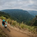 A rider enjoys a beautiful view of the mountains on day two of sani2c Adventure.