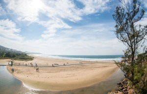 Arriving at the beach on day three of sani2c Adventure
