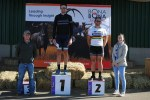 Johan Kruger (middle) and Danielle Strydom won the 60km feature of the Bona Bona MTB Race on Saturday. Photo: Facebook/facebook.com/Pro-T-Cycles