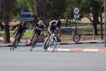 Charl du Plooy leading, with Ceajay Bosman and Linwill Jansen following during their criterium race of the Oudtshoorn Youth Festival yesterday. Photo: Louis Visser
