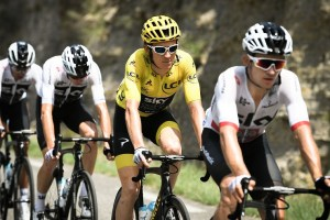 Team Sky's Geraint Thomas with fellow teammates