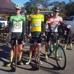 Gert Heyns (middle) flanked by Maties' teammates Jacques Lloyd (left, green sprinter's jersey) and Ben Fish (right, polka dot KOM jersey). Photo: Supplied