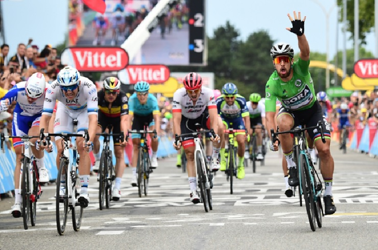 Bora-Hansgrohe's Peter Sagan once again showed his class in the sprints when he surged to victory in the 13th stage of the Tour de France in Valence today. Photo: ASO/Alex Broadway