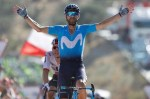 Movistar's Alejandro Valverde executed a late attack to win the 163.5km second stage of the Vuelta a Espana atop Caminito del Rey today. Photo: Unipublic/Luis Ángel Gómez