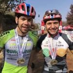 Teenager Pieter du Toit (right) of PYGA Euro Steel was overjoyed to win his first race alongside teammate Philip Buys after the pair clinched the overall title in The Magoeba yesterday. Photo: PYGA Euro Steel/Twitter