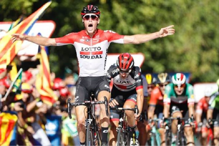 Lotto Soudal's Jelle Wallays (pictured) defied the odds to come out on top in stage 18 of the Vuelta a Espana in Lleida today, having led the race throughout. Photo: Unipublic/Luis Ángel Gómez