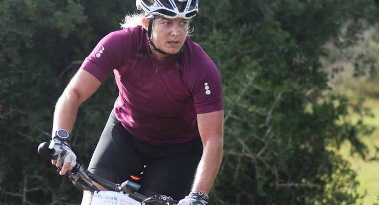Pauline Tunstead (pictured) could hardly believe it when she won the Karoo to Coast mountain-bike race yesterday. Photo: Supplied