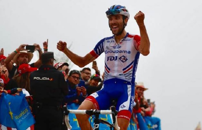 Groupama-FDJ's Thibaut Pinot laboured to a solo victory in the 178.2km 15th stage of the Vuelta a Espana today. Photo: Unipublic/Luis Ángel Gómez