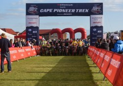 Riders pictured at the race village moments before the start of stage one of the Cape Pioneer Trek. Photo: Marike Cronje