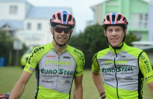 Philip Buys (left) and Matthys Beukes finished third in the prologue of the Cape Pioneer Trek. Photo: Zoon Cronje