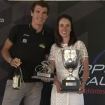 Carla Oberholzer (right) receiving her prize from Daryl Impey at the awards breakfast for winning the overall elite women's title of the Road Cycling Series. Photo: Streamit360.tv