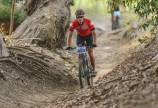 A rider moving swiftly through some spectacular singletrack during stage two of the Sanlam MTB Invitational today. Photo: Henk Neuhoff Photography