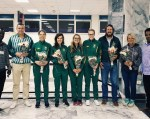 The South African team (centre) upon their arrival at the airport in Eritrea (from left) Sanet Coetzee, Zanri Rossouw, Liezel Jordaan and Maroesjka Matthee. Photo: Supplied