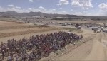 The field of riders patiently awaiting for the traffic to subside to start the Desert Dash. Photo: Desert Dash/Facebook