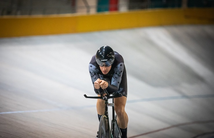 Gert Fouche in action during the individual pursuit at the SA National Track Champs yesterday. Photo: Owen Lloyd
