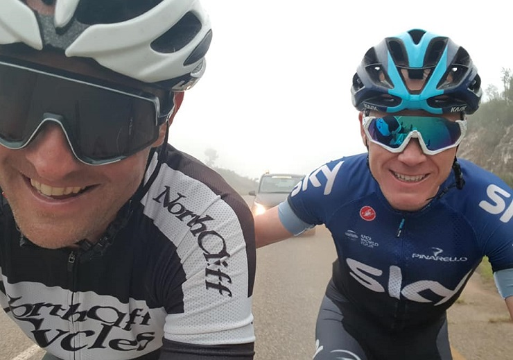 Multiple Tour de France winner Chris Froome (right) pictured training with his long-time friend Alex Pavlov during his recent visit to South Africa. Photo: Facebook/Alex Pavlov