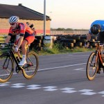 Bradley Gouveris (left) pictured winning the first criterium at the Festival of Cycling. Photo: East Cape Cycling