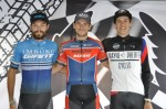 The Festival of Cycling overall criterium podium (from left) Max Sullivan (second), Bradley Gouveris (first) and Andre Nelson (third). Photo: East Cape Cycling