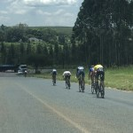 The breakaway group of riders in action in stage five of the Mpumalanga Tour today. Photo: Twitter/@ForeverResortSA