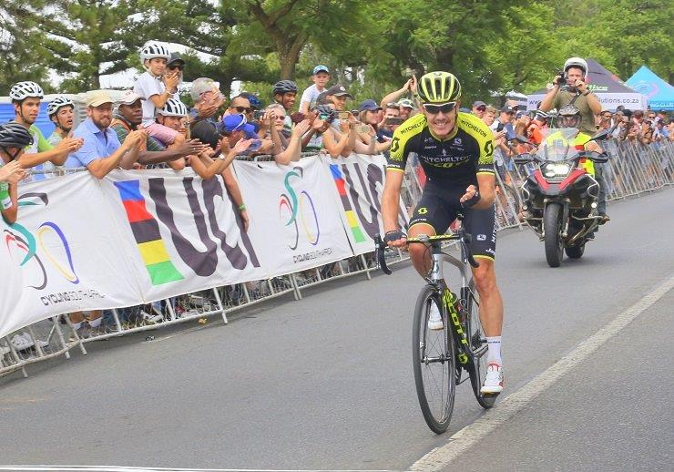 Mitchelton-Scott's Daryl Impey celebrating moments before crossing the finish line to defend his title at the SA national road champs 162km road race today. Photo: Rika Joubert/Cycle Nation