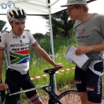 Daryl Impey (left) defended his crown in the SA national road champs individual time-trial today. Photo: Facebook/Gauteng North Cycling