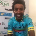 Astana Pro's Merhawi Kudus all smiles after winning stage two of the Tour du Rwanda today and taking the overall lead. Photo: Tour du Rwanda
