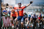 Bahrain-Merida's Sonny Colbrelli crossing the line to win stage four of the Tour of Oman. Photo: Muscat Municipality/A.S.O./P.Ballet