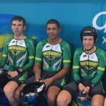 Steven van Heerden (left), Nolan Hoffman (centre) and David Maree pictured at the Gold Coast Commonwealth Games track event last year. Photo: Supplied