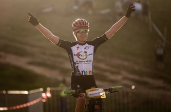 Olympic Road Champion Anna van der Breggen stormed to her first mountain bike race win of the season at the Champions Race on Wednesday in Kayamandi. Photo: Michal Červený