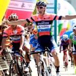 Nippo Vini Fantini Faizanè's Giovanni Lonardi crossing the line to win the fifth and final stage of the Tour de Taiwan today. Photo: facebook.com/Tour-De-Taiwan