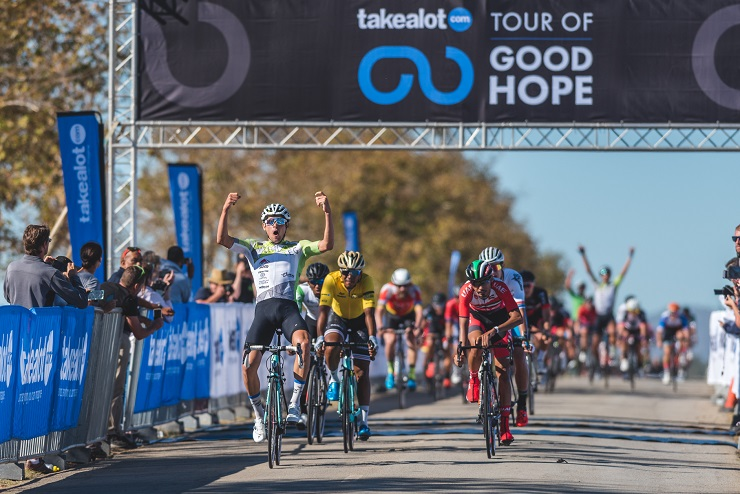 Gustav Basson celebrates his win on the second stage of 114km in the Takealot Tour of Good Hope