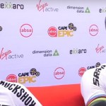 SCOTT-SRAM's Lars Forster (left) and Nino Schurter sat in the hot seat until the conclusion of the prologue of the Cape Epic today. Photo: Live stream