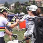 SCOTT-SRAM's Nino Schurter (left) shaking Lars Forster's hand after their prologue of the Cape Epic today. Photo: Live stream
