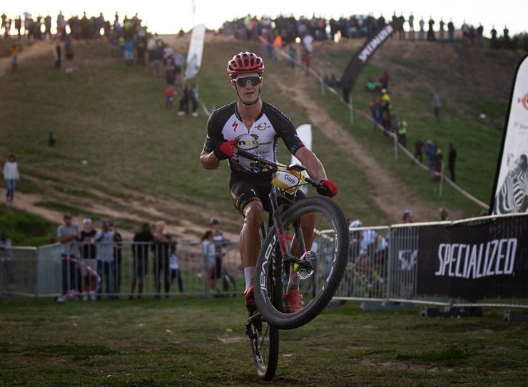 Sam Gaze performing a wheelie at the Champions Race in in Kayamandi yesterday. Photo: Michal Červený