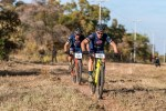 Francois Ebersohn (front) and Philip Fourie won the men's team race on day one of the Waterberg MTB Encounter