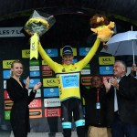 Jakob Fuglsang in yellow on stage seven of the 2019 Criterium du Dauphine