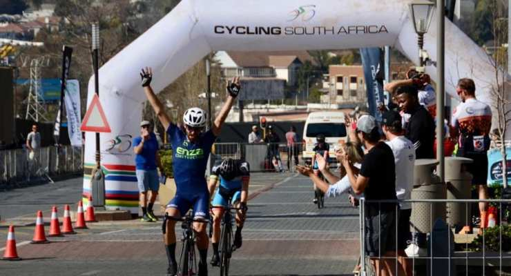 Steven van Heerden won the elite men's race at the Melrose Arch Criterium