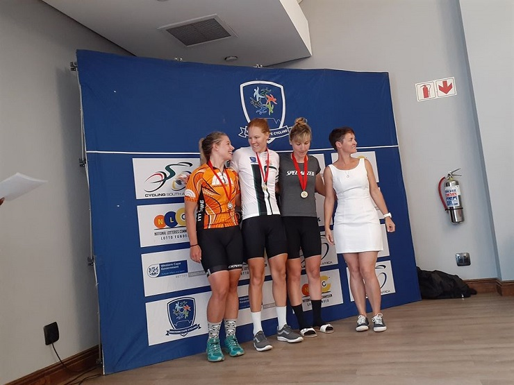 Maroesjka Matthee (second from left) won the elite women's road race which formed part of the Western Cape Road Championships
