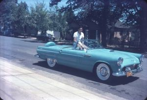 My dad in his 1956 Thunderbird convertible -life on the open road
