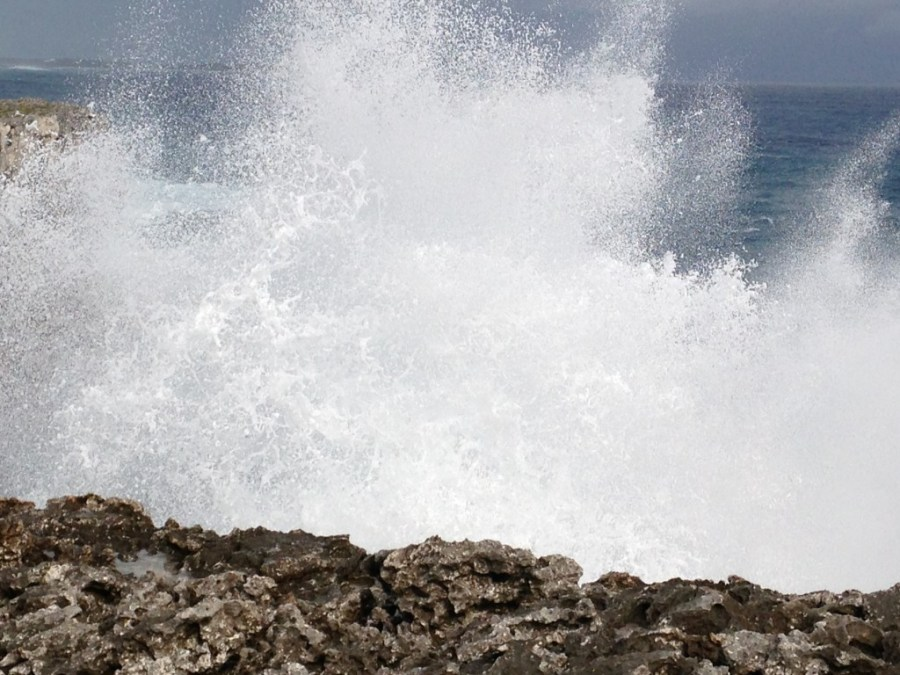 Spray shoots into the air, Eleuthera Bahamas