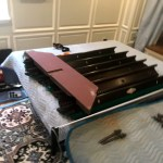 broken slate on this Beautiful antique pool table, Brookline, Mass. That's a problem…