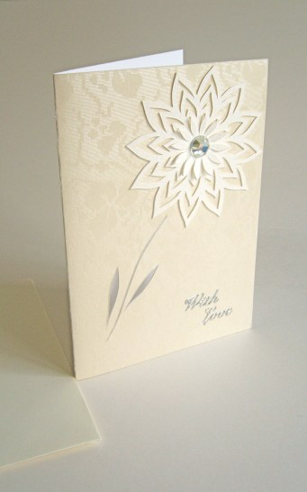 Cream tapestry A6 card white flower With Love
