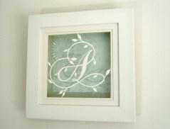 Letter A framed papercut