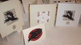 Reindeers, Snowflake, and small Robin Christmas cards