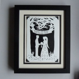 """""""Entwined"""" Commissioned wedding papercut framed."""