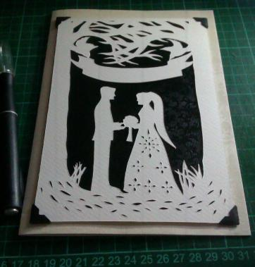 """""""Entwined"""" wedding papercut mounted onto A5 card"""