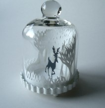 Winter Woods & Reindeer papercut bell jar2