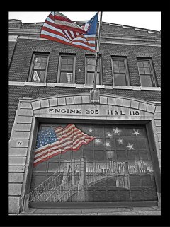 Another view of the Brooklyn Fire Station, this time with just a touch of color.
